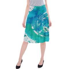 Blue Watercolors Circle                      Midi Beach Skirt