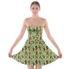 Puppy Dog Pattern Strapless Bra Top Dress