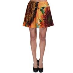 Sunflower Art  Artistic Effect Background Skater Skirt