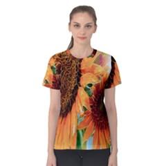 Sunflower Art  Artistic Effect Background Women s Cotton Tee