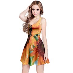 Sunflower Art  Artistic Effect Background Reversible Sleeveless Dress