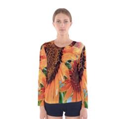 Sunflower Art  Artistic Effect Background Women s Long Sleeve Tee