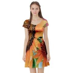 Sunflower Art  Artistic Effect Background Short Sleeve Skater Dress