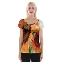 Sunflower Art  Artistic Effect Background Cap Sleeve Tops