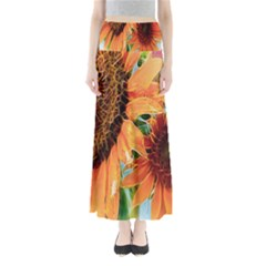 Sunflower Art  Artistic Effect Background Full Length Maxi Skirt