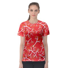 Small Flowers Pattern Floral Seamless Pattern Vector Women s Sport Mesh Tee