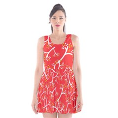 Small Flowers Pattern Floral Seamless Pattern Vector Scoop Neck Skater Dress
