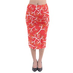 Small Flowers Pattern Floral Seamless Pattern Vector Midi Pencil Skirt