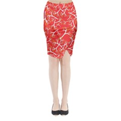 Small Flowers Pattern Floral Seamless Pattern Vector Midi Wrap Pencil Skirt