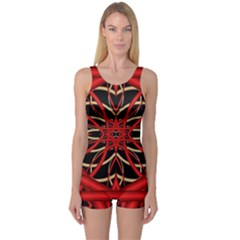 Fractal Wallpaper With Red Tangled Wires One Piece Boyleg Swimsuit