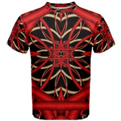 Fractal Wallpaper With Red Tangled Wires Men s Cotton Tee