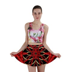 Fractal Wallpaper With Red Tangled Wires Mini Skirt