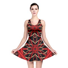 Fractal Wallpaper With Red Tangled Wires Reversible Skater Dress