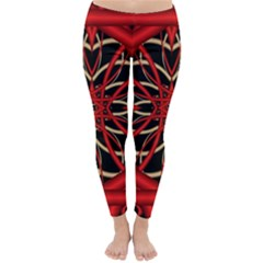 Fractal Wallpaper With Red Tangled Wires Classic Winter Leggings