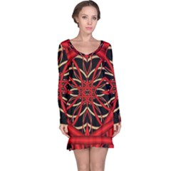 Fractal Wallpaper With Red Tangled Wires Long Sleeve Nightdress