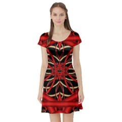 Fractal Wallpaper With Red Tangled Wires Short Sleeve Skater Dress