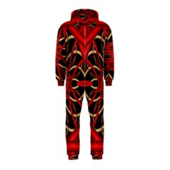 Fractal Wallpaper With Red Tangled Wires Hooded Jumpsuit (Kids)