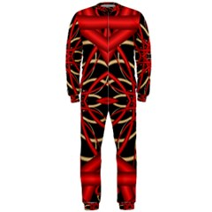 Fractal Wallpaper With Red Tangled Wires Onepiece Jumpsuit (men)