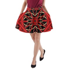 Fractal Wallpaper With Red Tangled Wires A Line Pocket Skirt