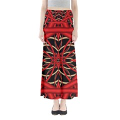 Fractal Wallpaper With Red Tangled Wires Full Length Maxi Skirt