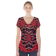 Fractal Wallpaper With Red Tangled Wires Short Sleeve Front Detail Top
