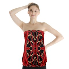 Fractal Wallpaper With Red Tangled Wires Strapless Top