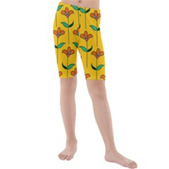 Small Flowers Pattern Floral Seamless Pattern Vector Kids  Mid Length Swim Shorts