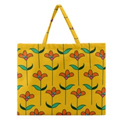 Small Flowers Pattern Floral Seamless Pattern Vector Zipper Large Tote Bag