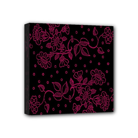 Pink Floral Pattern Background Wallpaper Mini Canvas 4  x 4
