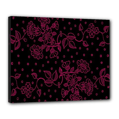 Pink Floral Pattern Background Wallpaper Canvas 20  X 16