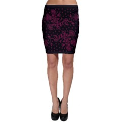 Pink Floral Pattern Background Wallpaper Bodycon Skirt