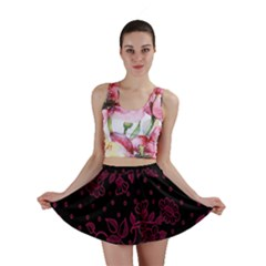 Pink Floral Pattern Background Wallpaper Mini Skirt