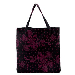 Pink Floral Pattern Background Wallpaper Grocery Tote Bag