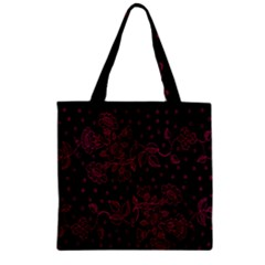 Pink Floral Pattern Background Wallpaper Zipper Grocery Tote Bag