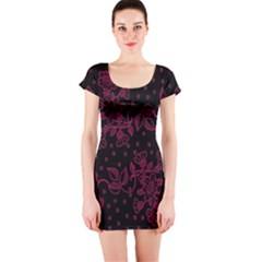 Pink Floral Pattern Background Wallpaper Short Sleeve Bodycon Dress