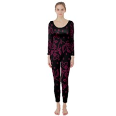 Pink Floral Pattern Background Wallpaper Long Sleeve Catsuit