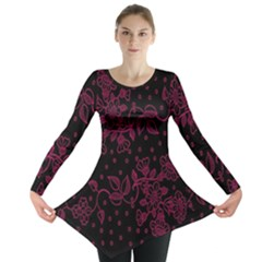 Pink Floral Pattern Background Wallpaper Long Sleeve Tunic