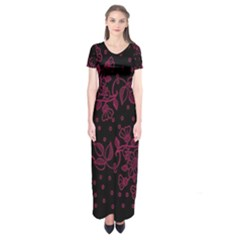 Pink Floral Pattern Background Wallpaper Short Sleeve Maxi Dress
