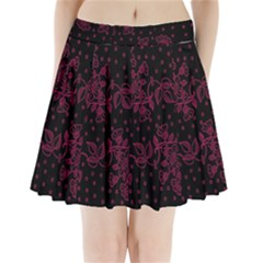 Pink Floral Pattern Background Wallpaper Pleated Mini Skirt