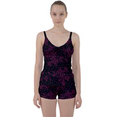 Pink Floral Pattern Background Wallpaper Tie Front Two Piece Tankini