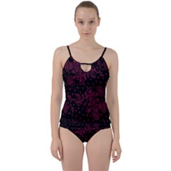 Pink Floral Pattern Background Wallpaper Cut Out Top Tankini Set