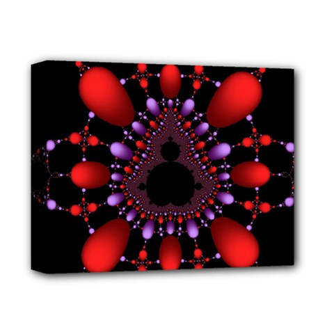 Fractal Red Violet Symmetric Spheres On Black Deluxe Canvas 14  x 11