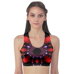 Fractal Red Violet Symmetric Spheres On Black Sports Bra