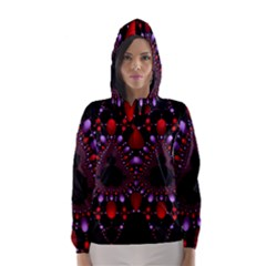 Fractal Red Violet Symmetric Spheres On Black Hooded Wind Breaker (women)