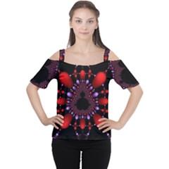 Fractal Red Violet Symmetric Spheres On Black Cutout Shoulder Tee
