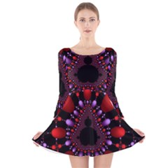 Fractal Red Violet Symmetric Spheres On Black Long Sleeve Velvet Skater Dress