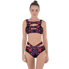 Fractal Red Violet Symmetric Spheres On Black Bandaged Up Bikini Set