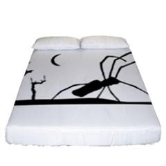 Dark Scene Silhouette Style Graphic Illustration Fitted Sheet (Queen Size)