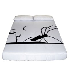 Dark Scene Silhouette Style Graphic Illustration Fitted Sheet (california King Size)