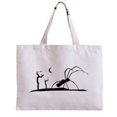 Dark Scene Silhouette Style Graphic Illustration Zipper Mini Tote Bag